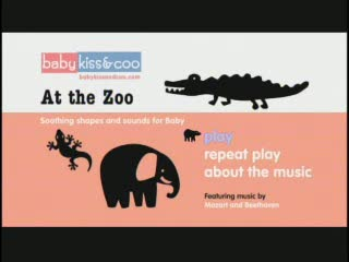 "Baby Kiss & Coo DVDs - Soothing Shapes and Sounds for Baby - Titles include: ""At The Zoo,"" ""Come Ride With Me,"" ""At The Farm,"" ""Under The Sea,"" ""Bugaloo Baby,"" ""Look! Shapes!"" Designed specifically to soothe infants during baby's first year and beyond. www.babykissandcoo.com."