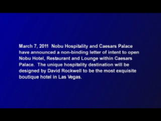 Caesars Palace and Nobu Hospitality Plan to Open in Las Vegas the First-Ever Nobu-Branded Hotel, Restaurant and Lounge Concept