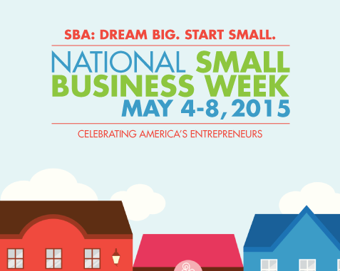 Small Business Week 2015 SBA banner image with graphic of buildings