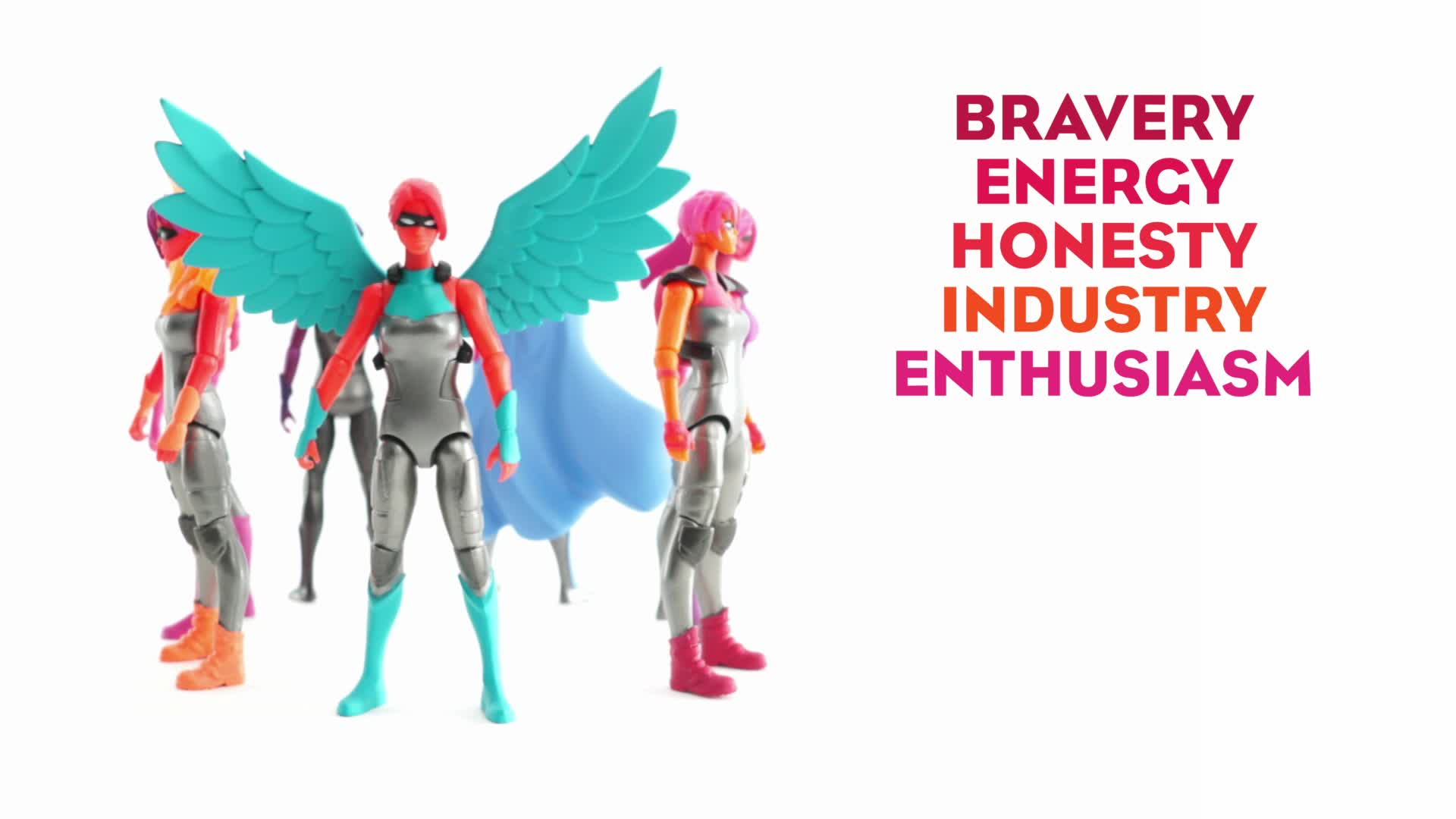 IAmElemental Series 1/Courage Female Action Figures: Series 1/Courage is IAmElemental's first series of seven 4-inch articulated action figures representing Bravery, Energy, Honesty, Industry, Enthusiasm, Persistence and Fear.  Figures are available in select retail stores and at IAmElemental.com.