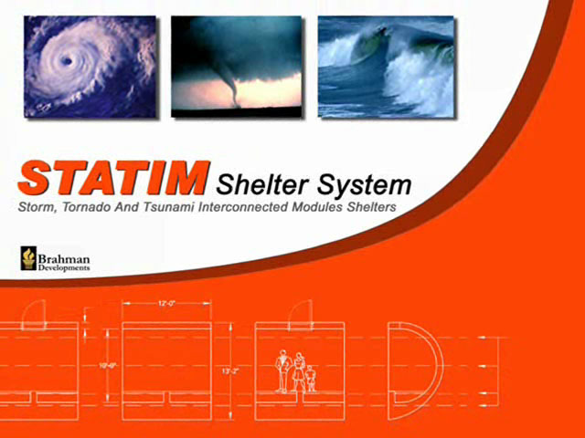 Video presentation of the STATIM Shelter System, a groundbreaking emergency preparedness approach against natural disasters such as tsunamis and major floods. The STATIM Shelter represents a major breakthrough on addressing these kinds of natural catastrophe worldwide.