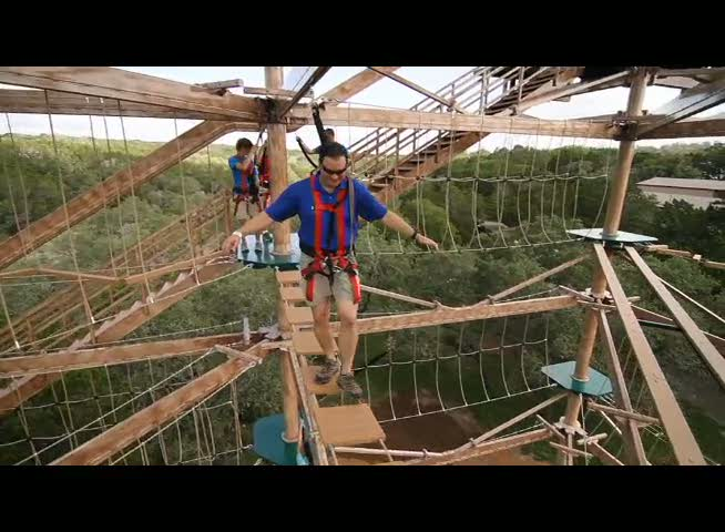 Natural Bridge Caverns (Texas). The Canopy Challenge Adventure Course and Zip Lines offer four stories of family fun and adventure.  Test your balance, agility and mental strength on a series of 47 challenging rope passages and then soar above the trees with over 1400 feet of high-flying fun, and spectacular views of the Texas Hill Country.