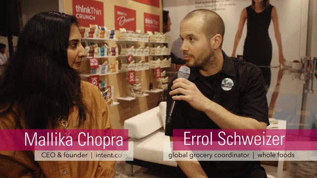 Whole Foods Market senior global grocery coordinator Errol Schweizer discusses non-GMO commitment with thinkThin CEO Lizanne Falsetto and thinkThin ambassador and CEO of intent.com Mallika Chopra
