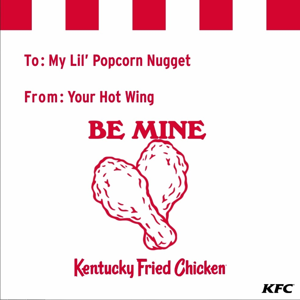 For those who are more digitally inclined, KFC has partnered with Tenor, the largest mobile GIF search engine, to create a series of animated KFC valentines for sharing with friends & family in popular messaging apps.
