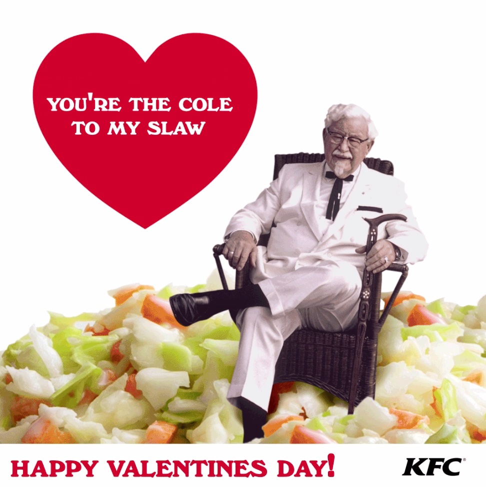 Starting this week and running through Valentine's Day, users of Tenor's GIF Keyboard mobile app can find the animated KFC valentines by searching for both love- and singlehood-related terms in the keyboard.