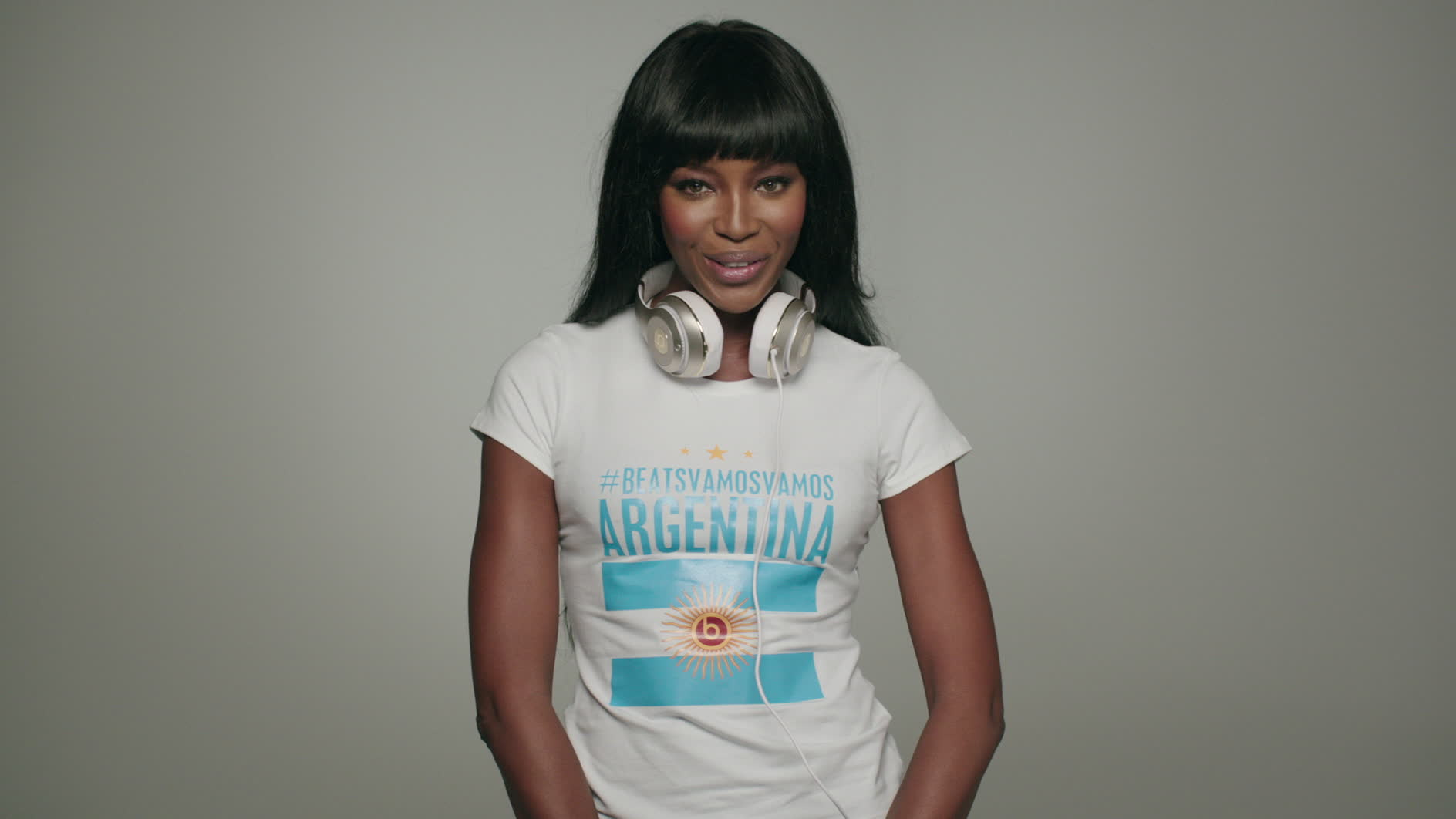 Naomi Campbell and Beats by Dre wish Argentina good luck in the World Cup Final.