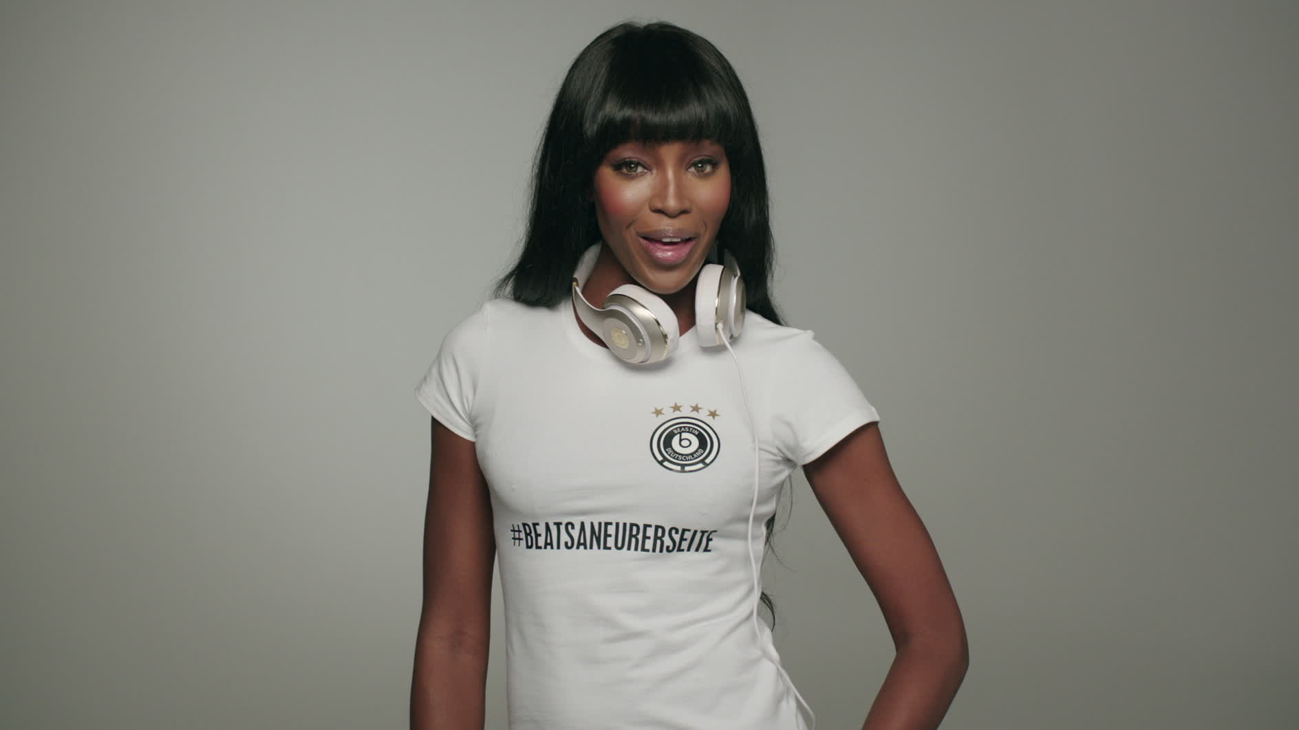 Naomi Campbell and Beats by Dre wish Germany good luck in the World Cup Final.