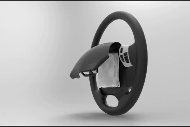 New steering wheel design allows for a routine airbag inspection to detect rust, corrosion, or post-installation changes before a car accident to help ensure driver safety.