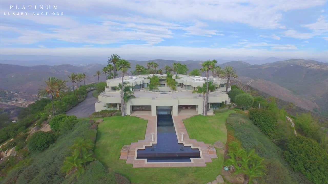 This exotic, mountaintop estate in California's San Diego County will be sold at a live AUCTION on September 19, 2015 by Platinum Luxury Auctions. Recently offered for $12.5 million, the property will now be sold to the highest bidder who meets or exceeds the auction's $5 million reserve price. Listing agent K. Ann Brizolis of Pacific Sotheby's International Realty is the cooperating listing agent for the sale. More details at CaliforniaLuxuryAuction.com.