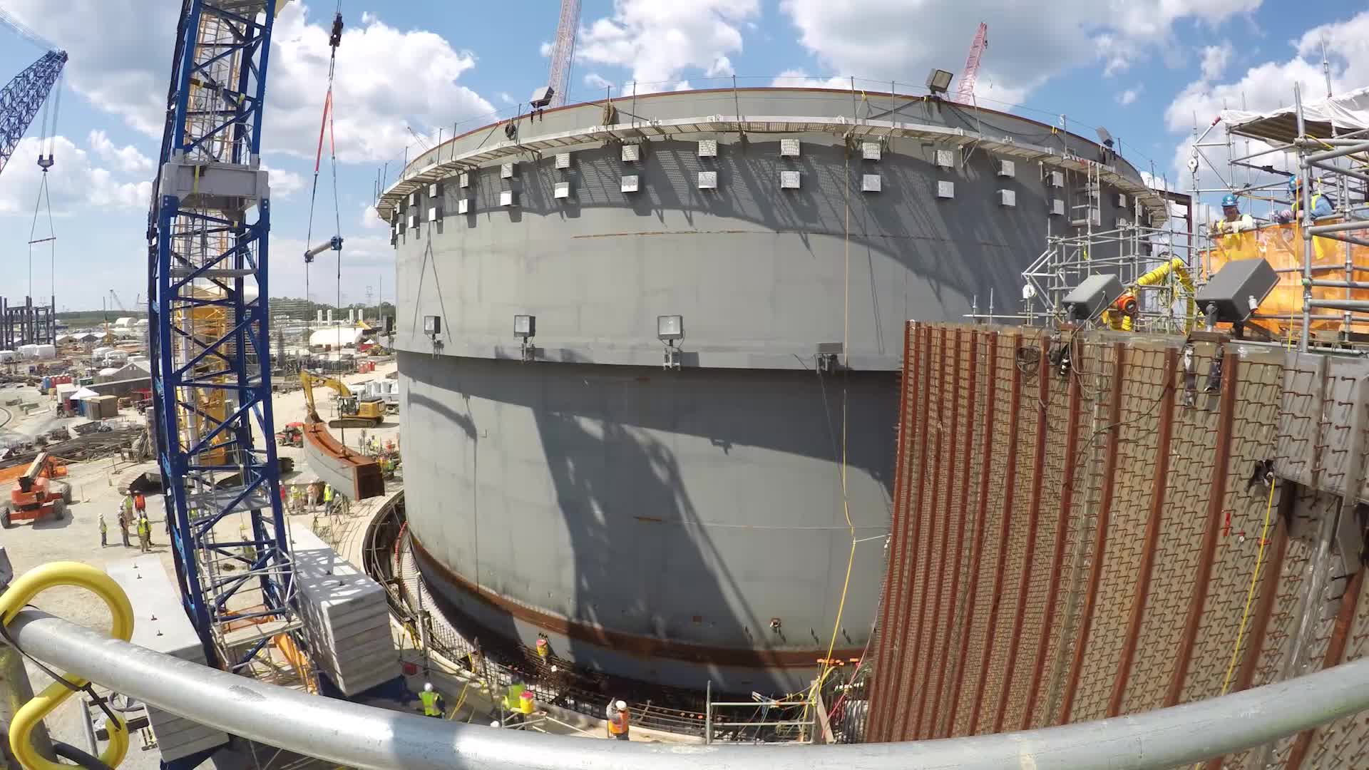Time-lapse video of the safe placement of the first shield building panel for Unit 3. Once completely assembled, the shield building will provide structural support of the containment cooling water supply and protect the containment vessel, which houses the reactor vessel and associated equipment.