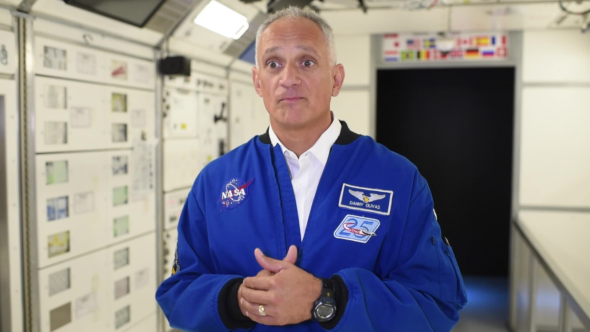 "John D. Olivas, Ph.D., former NASA astronaut: In print, his name is John D. Olivas - but in person, he goes by ""Danny."" His Ph.D. is in mechanical engineering and materials science. He has flown on STS-117 (Atlantis) where he conducted 2 spacewalks with over 14 hours of extravehicular activity (EVA), and STS-128 (Discovery) where he participated in 3 spacewalks gaining over 20 hours of EVA. By the way, both missions landed at Edwards AFB. He is bilingual in English and Spanish."