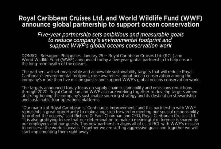 The CEOs of WWF and Royal Caribbean Cruises Ltd. discuss their common goal of protecting the oceans and explain the ambitious new conservation partnership between the organizations.