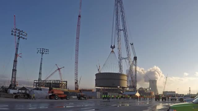 The 950-ton containment vessel lower ring for Vogtle Unit 4 is placed on December 11, 2015.