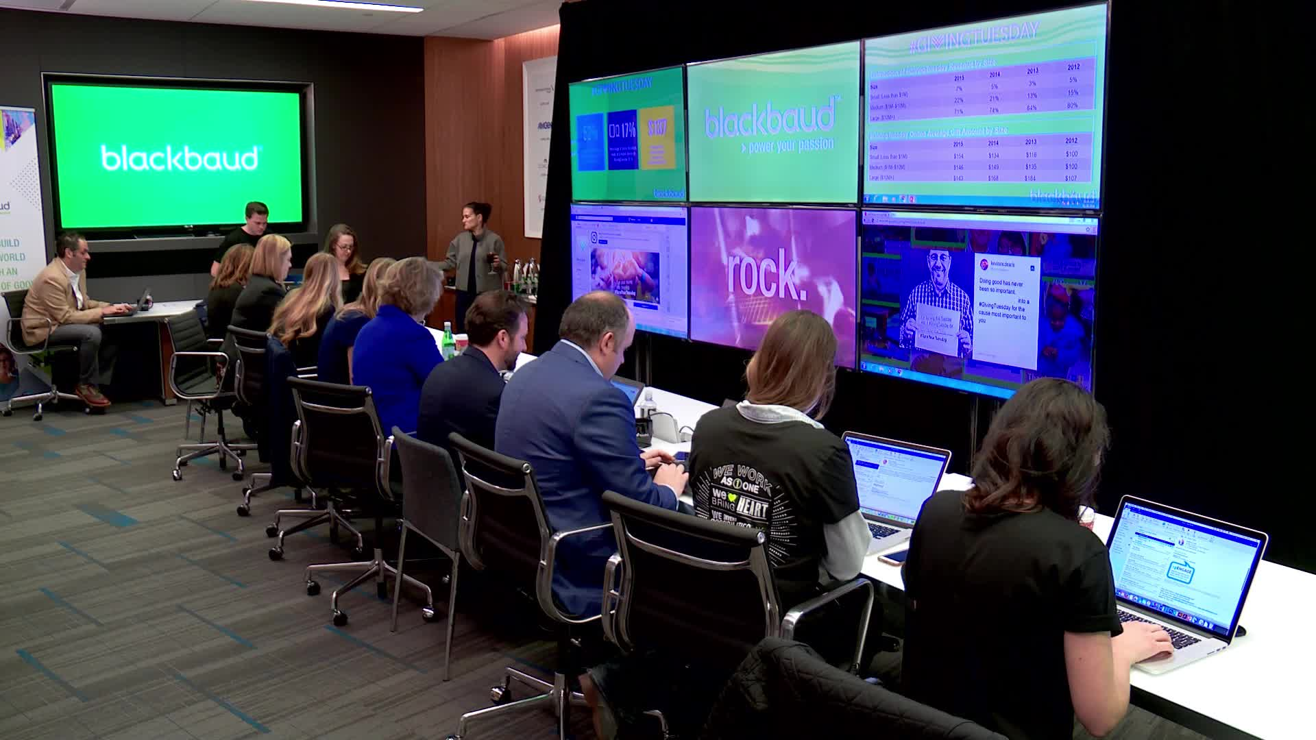 Broadcast quality b-roll of Blackbaud reporting on big data for #GivingTuesday at its command center at the Nasdaq studio in New York City.