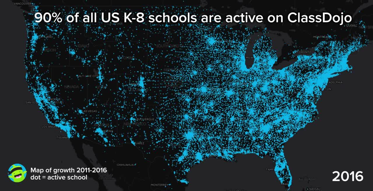 Map of ClassDojo U.S. K-8 school growth (2011 - 2016)