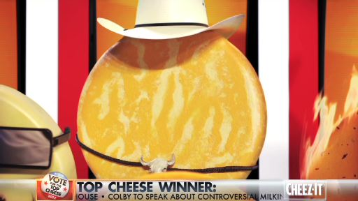 "Cheez-It Hot & Spicy gives his inauguration address after he was declared America's ""Top Cheese"" in a nationwide election held at www.Facebook.com/cheezit."
