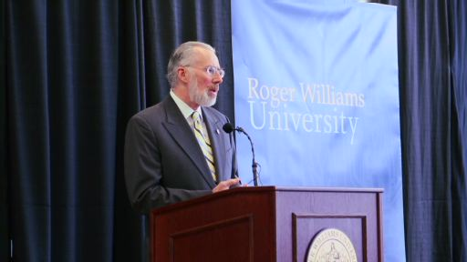 Roger Williams University President Donald J. Farish unveils the Affordable Excellence initiative to faculty and staff at the annual State of the University on October 24, 2012. In this video clip from the address, Dr. Farish speaks about the challenges facing higher education in America – increasing costs, rising student debt and the job-readiness of graduates.