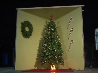 An Underwriters Laboratories test illustrates how an artificial tree can burn in a matter of minutes.
