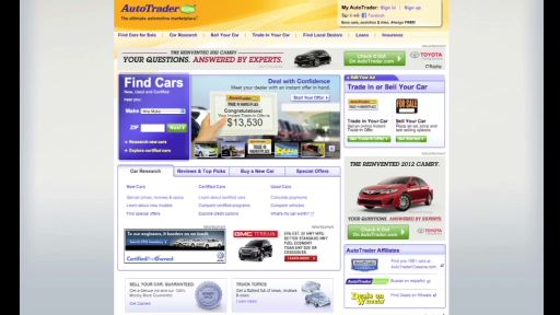 Toyota Camry's Innovative Takeover of AutoTrader.com Homepage