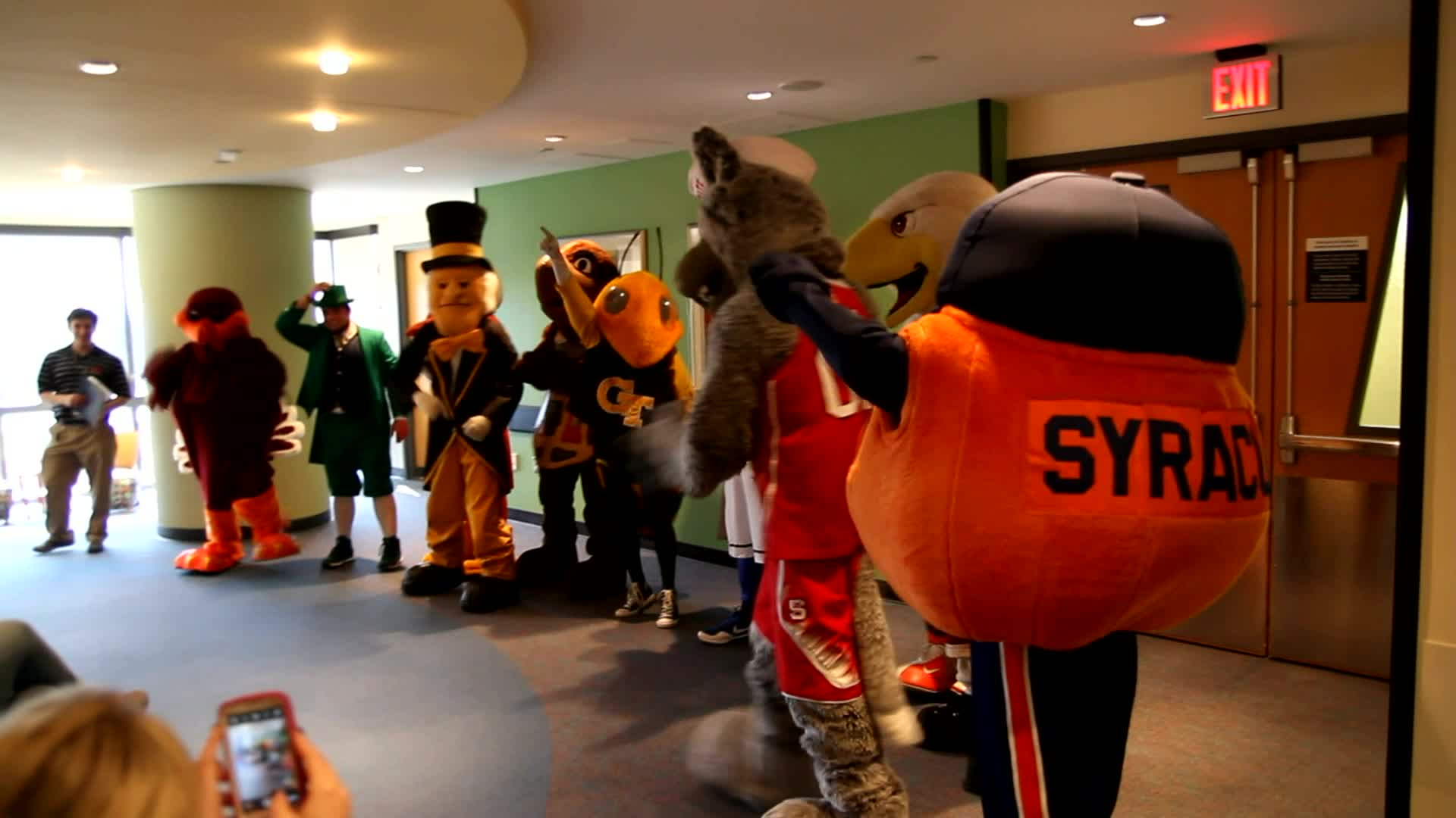 The mascots of the Atlantic Coast Conference spent some time at Brenner Children's Hospital, part of Wake Forest Baptist Medical Center, in Winston-Salem, N.C. on Friday, March 14. They stopped by as part of an outreach initiative for the 2014 ACC Men's Basketball Tournament. Young patients got to meet and have their photos taken with their favorite mascots during the visit. A good time was had by all, especially the mascots who seemed to thoroughly enjoy a quick break away from courtside.
