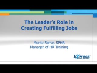 Monte Farrar of Express Employment Professionals discusses how to battle low employee morale.