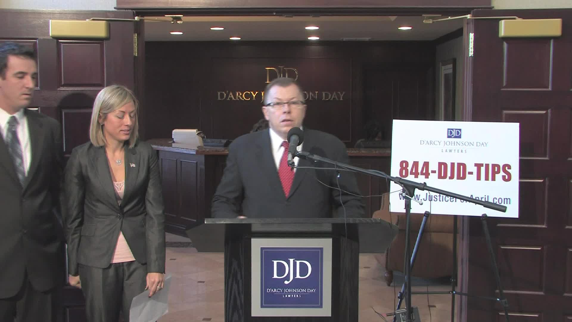 Kimberly Pack, daughter of slain radio personality April Kauffman, issues a statement concerning a lawsuit filed in Federal Court this morning regarding her mother's murder. First speaker is Patrick D'Arcy, partner at D'Arcy Johnson Day, Kimberly's attorney. Second speaker is Kimberly Pack.