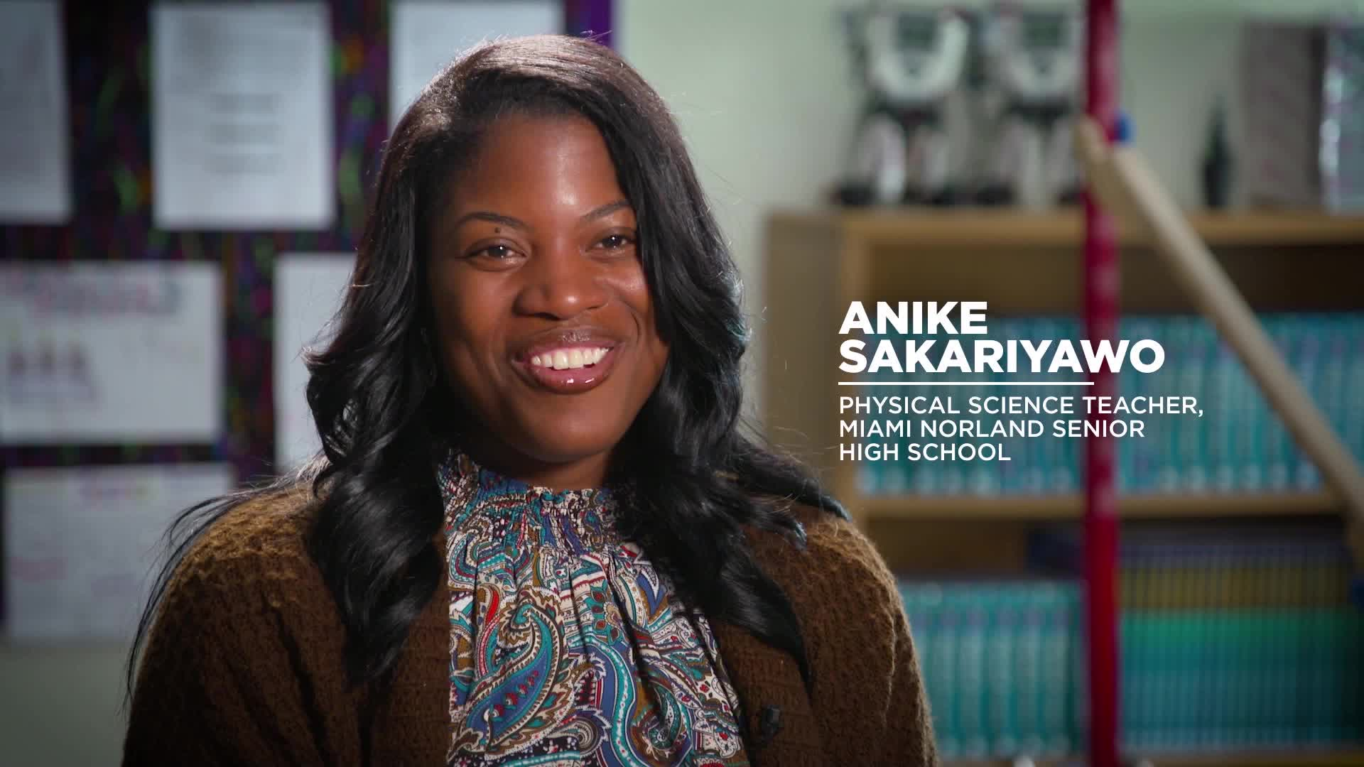 Harmony of the Seas Godmother Search Finalist: Anike Sakariyawo, Physical Science Teacher, Miami Norland Senior High School. For more information, visit royalcaribbeanpresscenter.com.