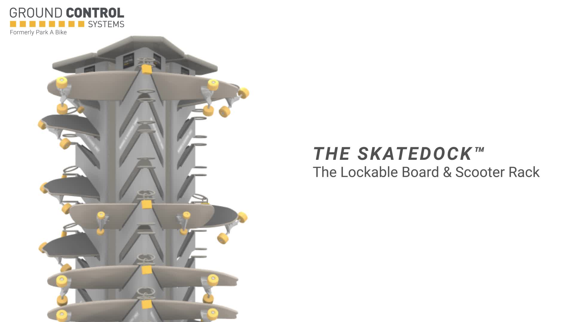 More than 300 schools and universities across the US utilize the innovative SkateDock from Ground Control Systems for lockable board and scooter parking.