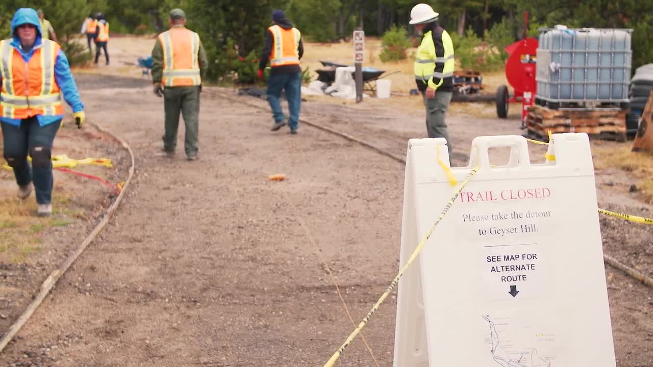Sustainable pathway around Yellowstone's Old Faithful made from recycled Michelin tires