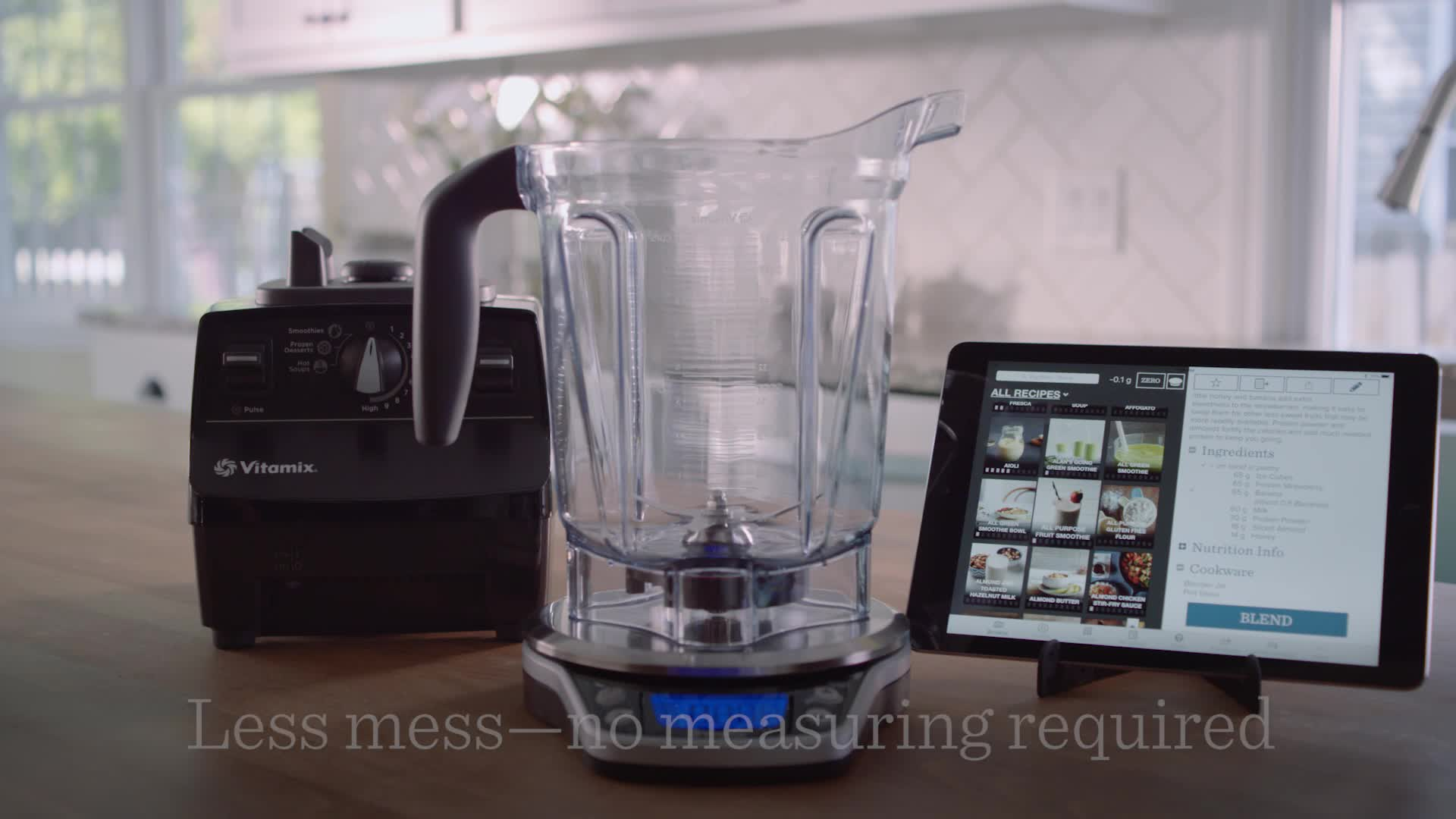 """With the Vitamix Perfect Blend Smart Scale & Recipe App, users choose a recipe, adjust it to their desired serving size or number of calories, and simply pour ingredients directly into their Vitamix container for precise measurement - the virtual container fills up in real time and an audible """"ding!"""" signals when to stop pouring."""