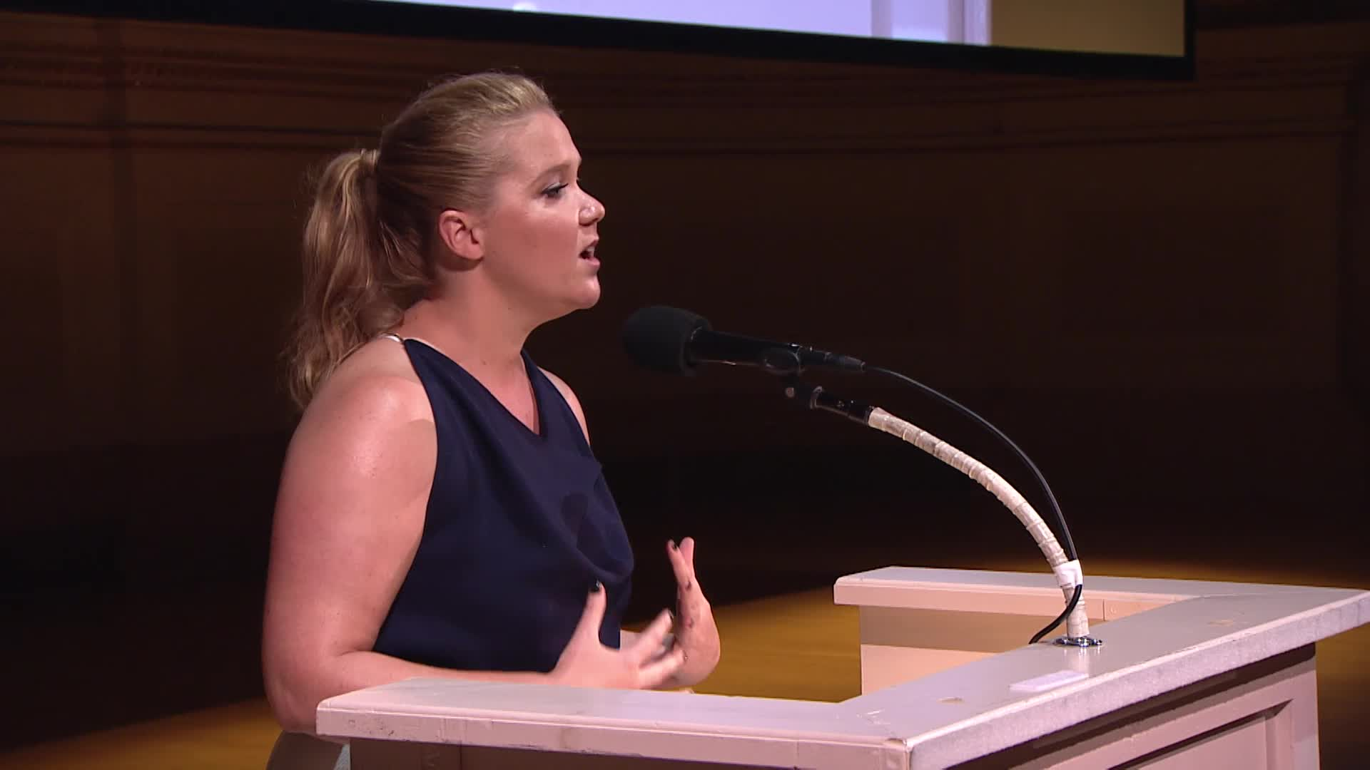 Actress and comedian Amy Schumer, CEO and President of Scholastic, Richard Robinson, Michelle Obama, Executive Director of Alliance for Young Artists & Writers, Virginia McEnerney, actor Ellie Kemper, actor artist Paul Chan, and Allison Williams (Girls & Get Out) address students and their families and teachers at the National Ceremony for the 2017 Scholastic Art & Writing Awards held at Carnegie Hall, New York, N.Y., Thursday, June 8, 2017.
