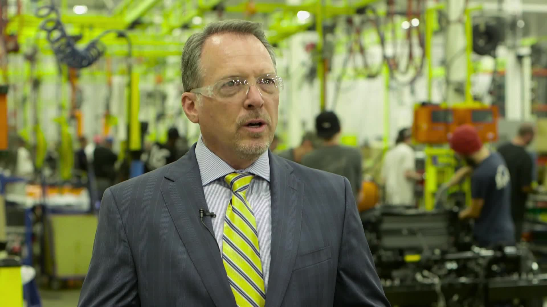 Spartan Motors President & CEO, Daryl Adams, talks about the first Chevrolet medium duty truck rolling off the line at their Charlotte, Mich. plant.