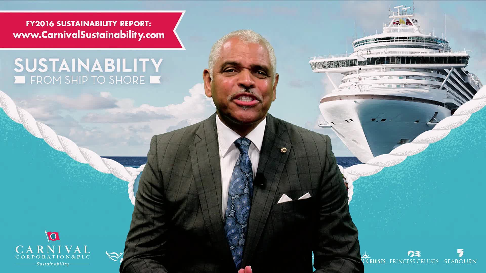 Carnival Corporation's president and CEO Arnold Donald invites readers to join the cruise company on its sustainability journey through a welcome video that highlights key elements of the company's commitment to sustainability.